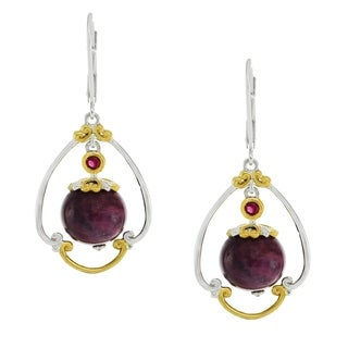 Michael Valitutti Palladium Silver Burmese Ruby Bead Leverback Earrings