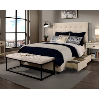 Republic Design House Manhattan King-size Ivory Tufted Platform Bed and Flat Bench Set