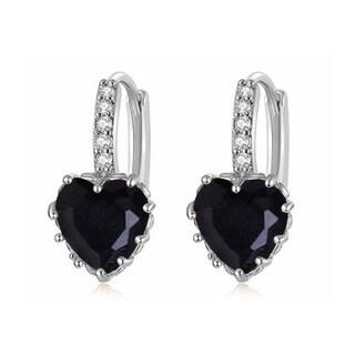 Silvertone Black Heart Cubic Zirconia Lever-back Earrings