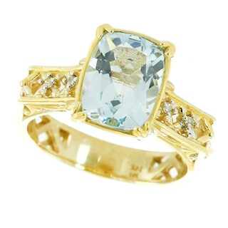 One-of-a-kind Michael Valitutti 14K Yellow Gold Cushion Aquamarine and Diamond Ring