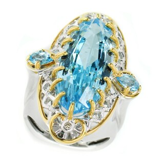 One-of-a-kind Michael Valitutti Palladium Silver Italy Series Blue Topaz and Diamond Ring
