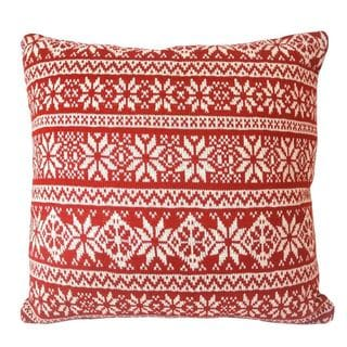 Snowflake Knitted Holiday 18-inch Decorative Pillow