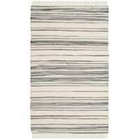 Safavieh Hand-Woven Rag Cotton Rug Ivory/ Grey Cotton Rug - 2'6 x 4'