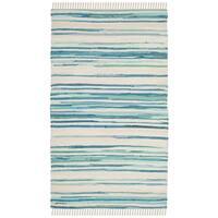 Safavieh Hand-Woven Rag Cotton Rug Ivory/ Green Cotton Rug - 2'6 x 4'