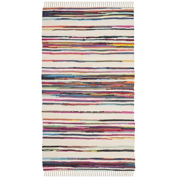 Safavieh Hand-Woven Rag Cotton Rug Ivory/ Multicolored Cotton Rug (2' 6 x 4')