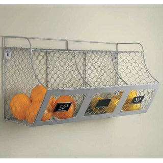 Silver Metal Multi-bin Storage Basket