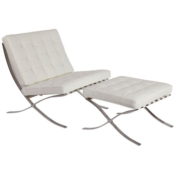 MLF Pavilion White Chair And Ottoman Set Italian Leather.