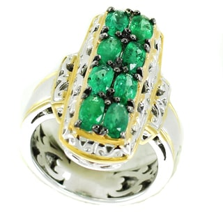 One-of-a-kind Michael Valitutti Palladium Silver Oval Emerald Cluster Ring