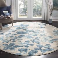 "Safavieh Evoke Vintage Flora Grey / Light Blue Rug - 6'7"" x 6'7"" Round"