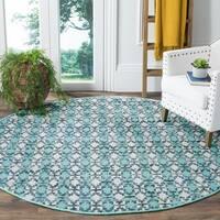 Safavieh Hand-Woven Montauk Flatweave Turquoise/ Multicolored Cotton Rug - 6' x 6' Round