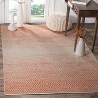 Safavieh Hand-Woven Montauk Flatweave Orange/ Ivory Cotton Rug - 6' x 6' Square