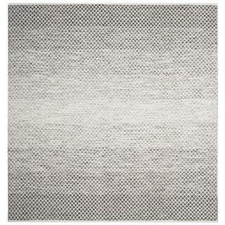 Safavieh Hand-Woven Montauk Flatweave Light Grey/ Ivory Cotton Rug (6' Square)
