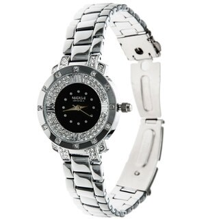 Matashi Women's White Gold-plated Luxury Watch with Adjustable Link Band (2 Options)
