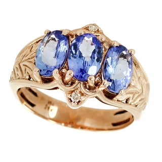 One-of-a-kind Michael Valitutti 14K Rose Gold Oval Tanzanite and Diamond Ring