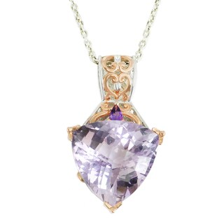 One-of-a-kind Michael Valitutti Palladium Silver Trillion Pink Amethyst, Pear African Amethyst and Hot Pink Sapphire Pendant