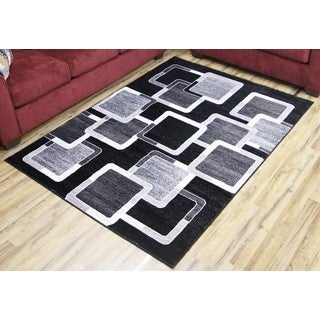 Empire Passion Contemporary Black/Grey Polypropylene Rug (6'7 x 9'6)
