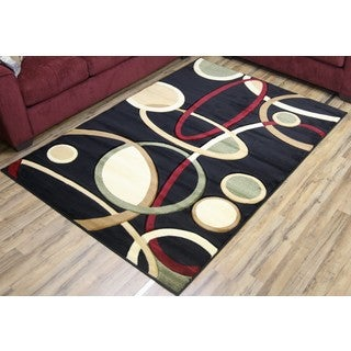 Empire Rosa Black/Beige Hand-carved Transitional Rug (5'3 x 7'5)