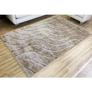 Empire Unique Home Beige/Brown Shag Rug (7'10 x 10'2)