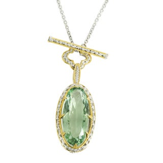 One-of-a-kind Michael Valitutti Palladium Silver Green Amethyst and Chrome Diopside Toggle Necklace