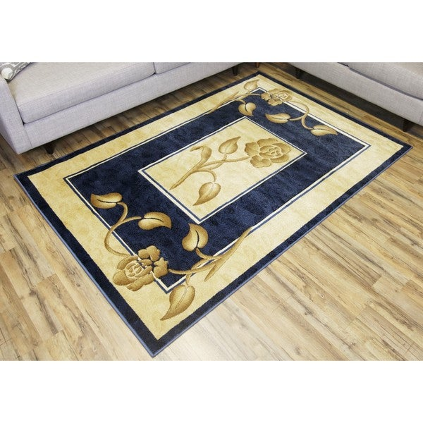 Empire Rosa Blue/Ivory Hand-carved Transitional Rug (2'3 x 7'5)