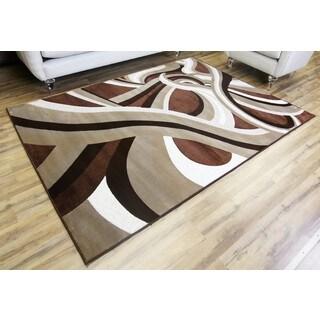 Empire Crystal Brown/Beige Contemporary Rug (7'10 x 10'2)