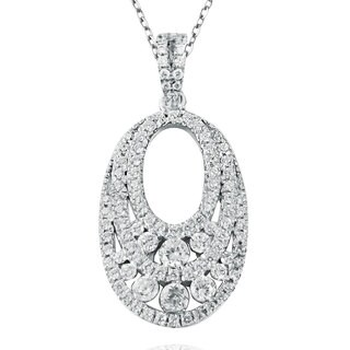 Suzy Levian Pave Cubic Zirconia Sterling Silver Oval Necklace Pendant