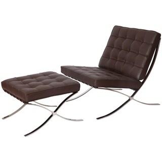 MLF Pavilion Chair and Ottoman, Dark Brown