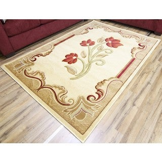 Empire Rosa Hand Carved Transitional Cream/Red Rug (7'10 x 10'2)