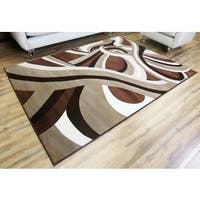 Empire Crystal Brown/Beige Contemporary Rug (3'11 x 5'3)