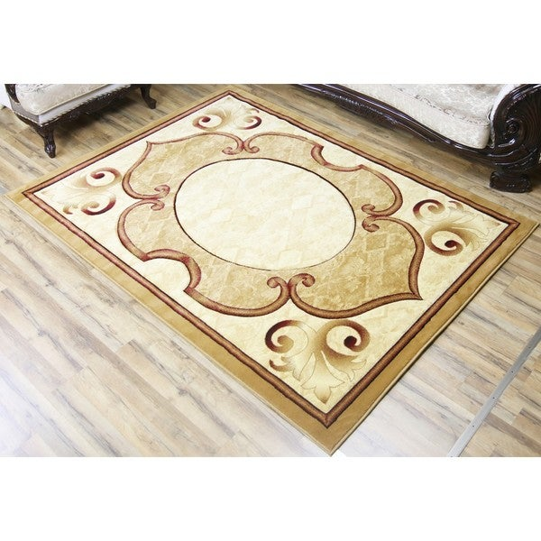 Empire Rosa Hand Carved Transitional Beige/Red Polypropylene Rug - 2'3 x 7'5