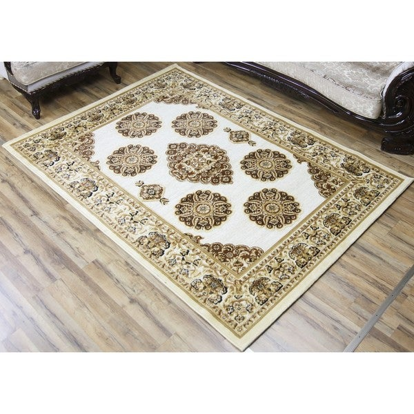 Empire Shonil Cream/Brown Polypropylene Area Rug (2'7 x 7'7)