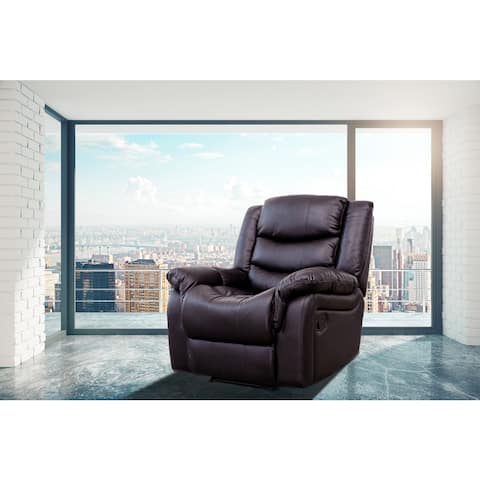Brenda Brown Faux Leather Modern Style Heated Vibrating Massage Recliner