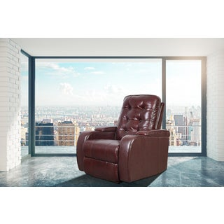 Brook Burgundy Faux Leather Modern Style Heated Vibrating Massage Recliner