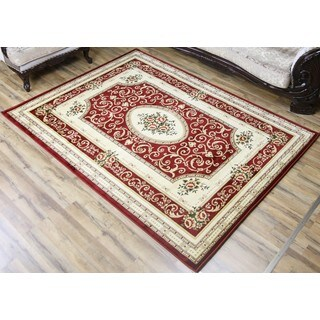 Empire Super Belkis Red/Cream Polypropylene Area Rug (6'7 x 9'6)