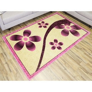 Empire Rosa Hand-carved Transitional Pink, Cream, and Fuchsia Rug (5'3 x 7'5)
