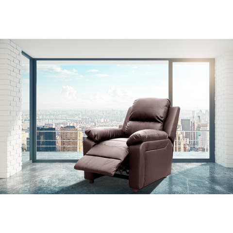 Bernice Faux Leather Modern Style Heated Vibrating Pushback Massage Recliner