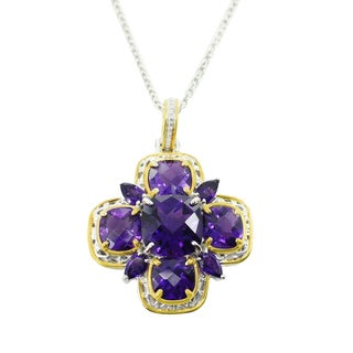 One-of-a-kind Michael Valitutti Palladium Silver Cushion and Pearshaped African Amethyst Pendant