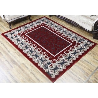 Empire Crystal Traditional Red/Gray Rug (3'11 x 5'3)