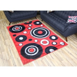 Empire Gloria Red/Black Polypropylene Shag Rug (2'7 x 7'7)
