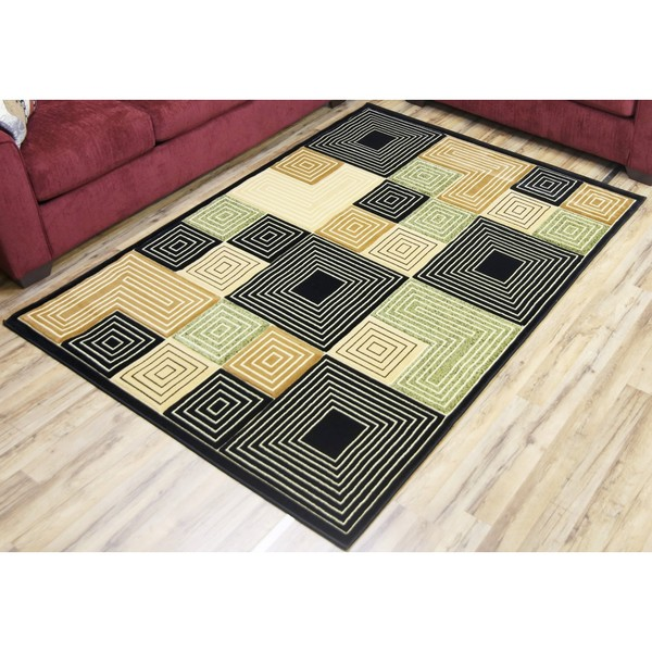 Empire Rosa Transitional Black/Green Polypropylene Hand Carved Rug (2'3 x 7'5)