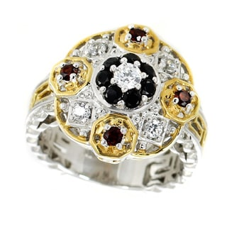One-of-a-kind Michael Valitutti Palladium Silver Dome from the Lourve White Zircon, Garnet and Black Spinel Ring