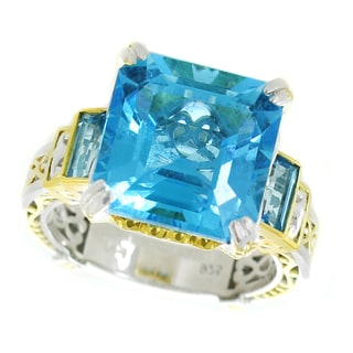 One-of-a-kind Michael Valitutti Palladium Silver Asscher and Baguette Swiss Blue Topaz Ring
