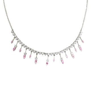 One-of-a-kind Michael Valitutti Palladium Silver Marquise Pink and White Cubic Zirconia Multi Drop Necklace