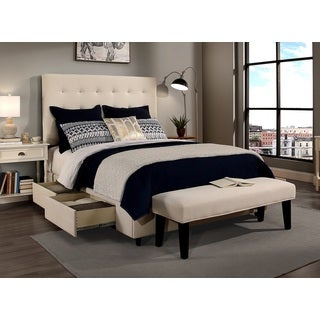 republic design house manhattan queen size ivory tufted storage bed and bench set