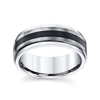 Men's Two-tone Black and White Titanium Wedding Band