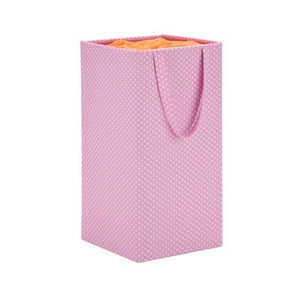 Honey Can Do Pink Rectangular Collapsible Hamper with Handles