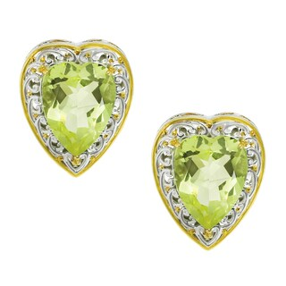 One-of-a-kind Michael Valitutti Palladium Silver Heart Oro Verde Stud Earrings