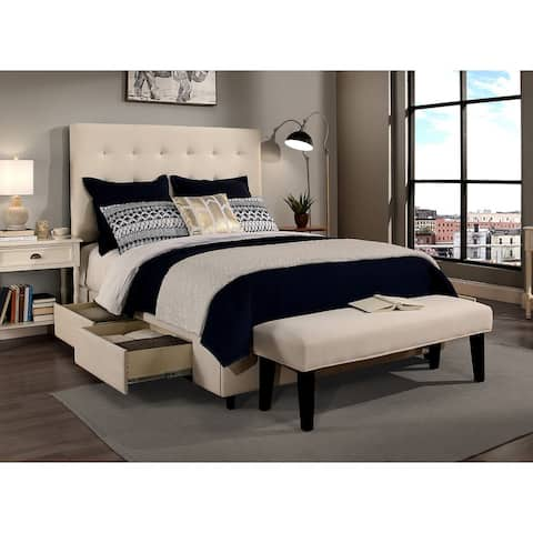 Republic Design House Manhattan Queen-Size Ivory Tufted Storage Bed and Bench Set