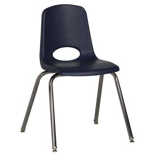 "Offex 18"" Stack Chair Chrome Legs with Swivel Glide - Navy"