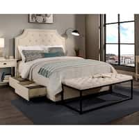Republic Design House Audrey Ivory Tufted Upholstered King/ Cal King Bedroom Collection with Flat Bench Option